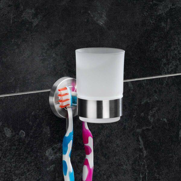 AMARE Zahnputzbecher Glas mit Wandhalter