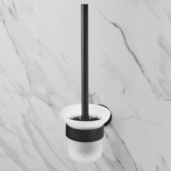AMARE WC Bürste Toilettenbürste mit Glasbehälter und Wandhalter