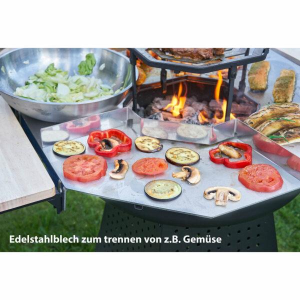 "Holzkohlegrill ""Plancha"" mit Feuerkorb 2 in 1"