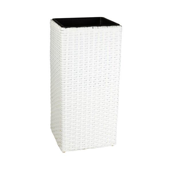 GARTENFREUDE Pflanzkübel Polyrattan weiß
